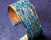 Handmade Copper Fold Formed Line Folded Hammered Eco Friendly Natural Oxidized Blue Patina Medium Wide Bracelet Cuff Gift for Her by  EVI