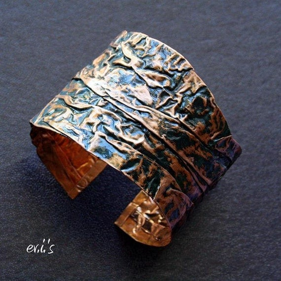 Handmade Copper Folded Hammered Textured Painted Grey Blue Green Large Hard Bracelet Cuff with Uneven Edges Gift for Her by EV.I.