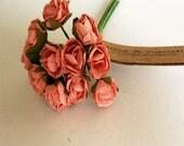 3 flowers Branchs 36 Salmon Paper Flowers