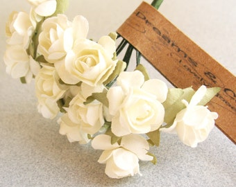 3 Flowers Branchs 36 Ivory Paper Flowers