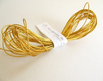 "5 yd Gold Twine cord -gift wraping-paching-decor-favor-tag cord (1/16"" diam) -Gold Trim -Gold Cord -Gold"