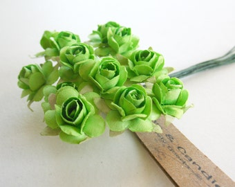 3 flowers Branchs 36 Green Paper Flowers