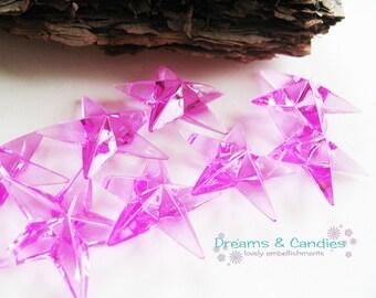50 Fuchsia Bead Stars -Plastic Stars -Hot Pink Plastic Stars -Stars Decor -Wedding Favor Supplies -Baby Shower Supplies -Embelishments Decor
