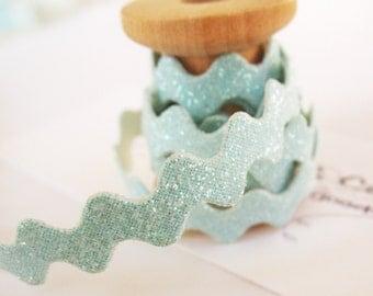 """1yd Baby Blue Glitter Ric Rac Trim -1/4"""" width"""
