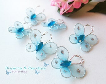 6 Mini Baby Blue Butterfly Applique- Accessories- embellishment -Decorative Butterflies