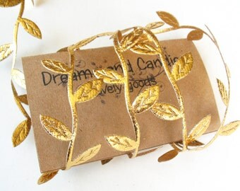 "3/4yd Gold Leaves Cord -1 1/4"" width -Gold Leaf Cord -Decorative Cord -Gold Ribbon -Gold Leaf Ribbon -Gold Lace"