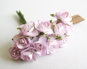 3 flowers Branchs 36 Lilac with white Paper Flowers