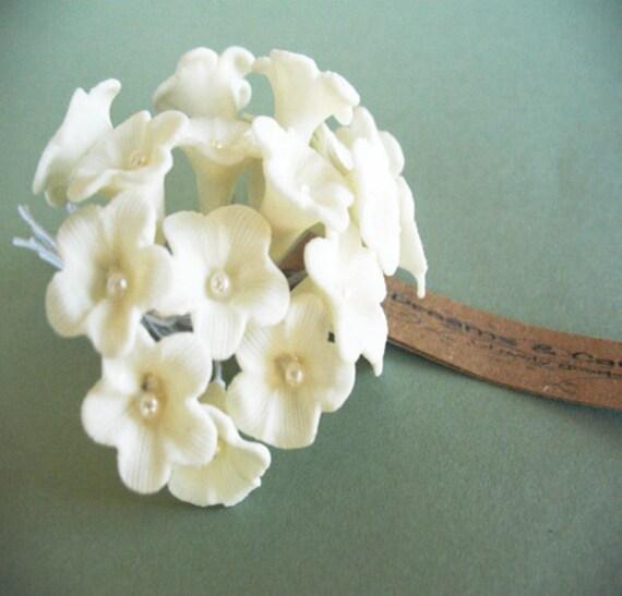 6 White Handmade Clay flowers