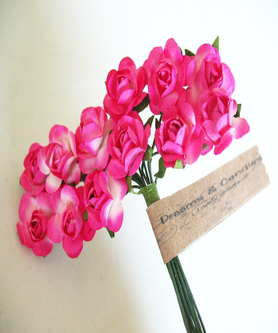 3 flowers Branchs 36 Two colors Hot Pink- Fuchsia with white Paper Flowers