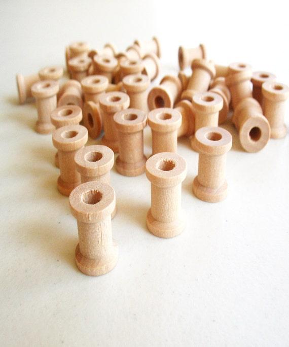 "75 Miniature Wooden Spools  5/8""x1/2"""