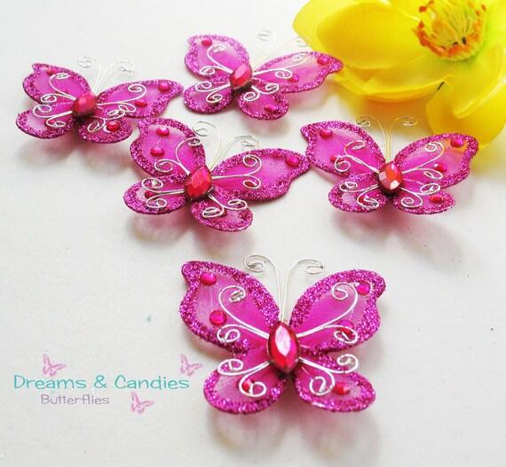 6 Fuchsia  Butterfly Applique- Accessories- embellishment