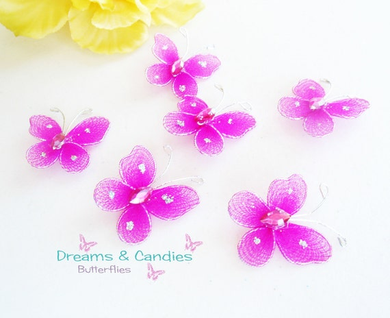 6 Mini Fuchsia hot pink Butterfly Applique- Accessories- embellishment
