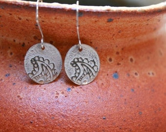 Small etched paisley sterling silver earrings