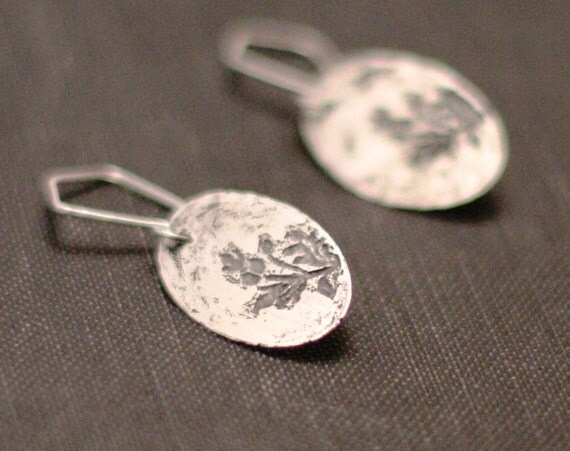 Etched thistle in sterling silver earrings, recessed