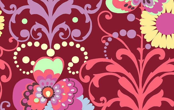 END OF BOLT, 15 inches, Paradise Garden in Wine, Love Collection, Amy Butler for Westminster Fabrics