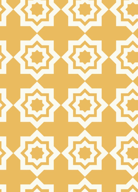 END OF BOLT, 19 inches, Tiles in Ochre Fabric, Moroccan Mirage by Khristian A Howell for Anthology Fabrics