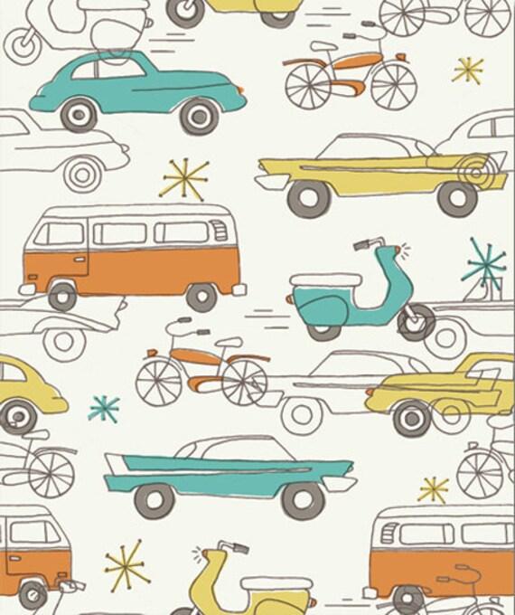 Cars Natural, Monaluna Circa 52 for Birch Fabrics, Organic Fabric, Half Yard, 1/2 Yard