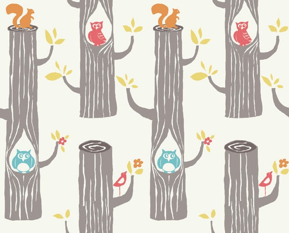END OF BOLT, 34 inches, Woodland Friends in Natural, Monaluna Circa 52 for Birch Fabrics, Organic Fabric