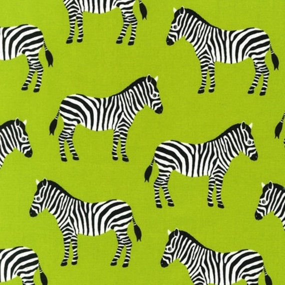 End of bolt inches zebras in lime green fabric pink