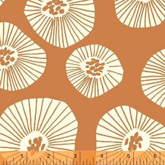 END OF BOLT, 30 inches, Echo, Moira Apricot Fabric by Lotta Jansdotter for Windham Fabrics