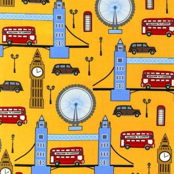 Next Stop London in Yellow, Laurie Wisbrun for Robert Kaufman Fabrics, Half Yard, 1/2 Yard