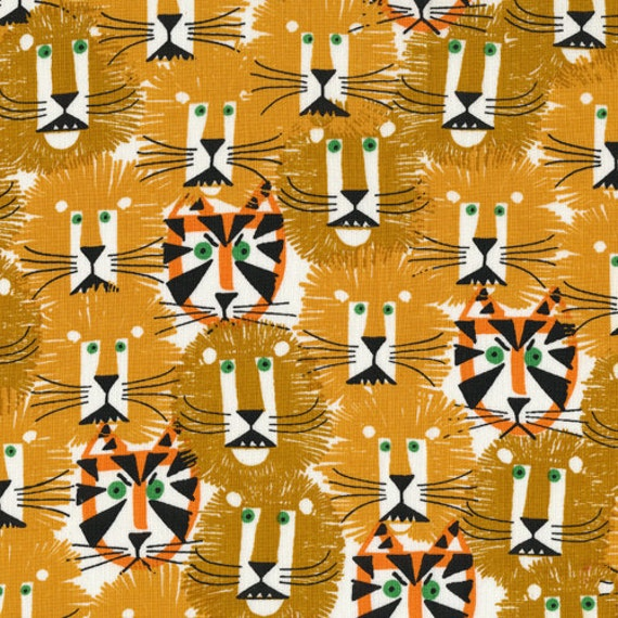 Lions and Tigers, Happy Drawing by Ed Emberley for Cloud9 Fabrics, 1/2 Yard, Half Yard