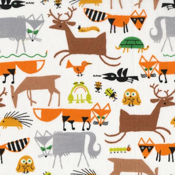 Forest Friends, Happy Drawing by Ed Emberley for Cloud9 Fabrics, 1/2 Yard, Half Yard