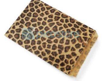 300pcs - 5x7 Leopard Animal Print Paper Merchandise Bags - Wedding Birthday Party Favor Bags