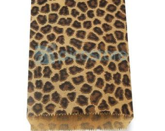 100pcs - 6x9 Leopard Animal Print Paper Merchandise Bags