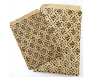 400pcs 5x7 Damask Kraft Paper Bags - Craft Fair/Wedding Party/Birthday Party Bags