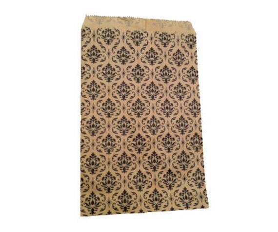 200pcs 5x7 Damask Kraft Paper Retail Merchandise Bags - Wedding Favor Bags - Craft Fair Wholesale Bags