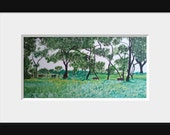 ORIGINAL Landscape Acrylic Painting Forest in Asia Wall Art Asian Decor