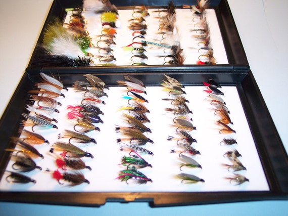 Xmas Gift 100 Assorted TROUT FISHING FLIES In Box Would Make Ideal Xmas Gift for any angler