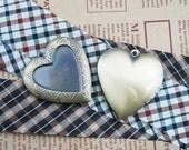 5pcs Pendant DIY Brass Bronze Copper Heart Shape Flower Gemstone Studded Prayer Box Photo Locket Jewelry 1131009
