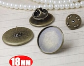 20Pcs 18MM bronze brass round brooch base tray,brooch pin tray,vintage button tray1581006-4