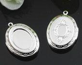 wholesale 5pcs vintage brass silver locket pendant,photolocket,locket,photo locket,oval locket1122001