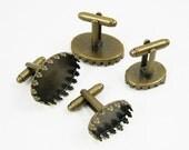 10pcs 13x18mm brass bronze oval crown bass tray bezels cufflinks,vintage retro cufflinks bezels setting 1500009-1