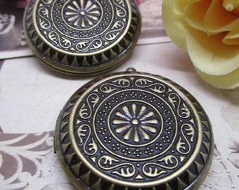 5pcs 44MM round photo locket,vintage antique brass bronze lockets,DIY setting locket,engraved locket 1111031
