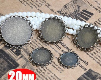 20Pcs 20MM double lace brass round base tray,charm tray,pendant base setting,vintage bronze tray 1411019-4