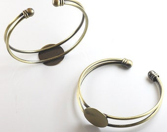 2Pcs 18MM vintage brass round base tray bracelet,DIY bracelet,bronze bracelet 1900006