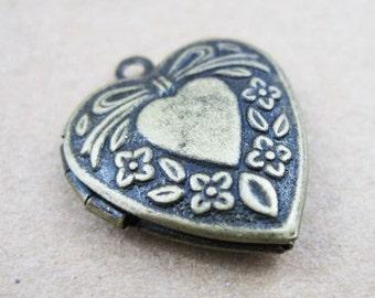 5pcs 19MM heart photo locket,vintage brass bronze lockets,DIY setting locket,engraved locket 1131033