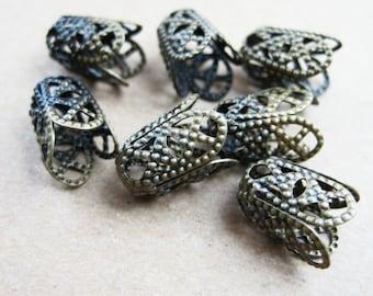100x 11x5mm vintage bronze flower cap,bronze beads cap,vintage beads cap,brass beads cap1561003