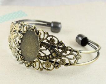 2pcs 18x25MM vintage brass oval base tray bracelet blank,antiqued bronze braclet cuff 1900009