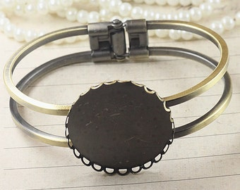 2Pcs 25MM vintage brass round base tray bracelet,DIY bracelet,bronze bracelet 1900001
