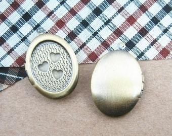 wholesale 5pcs vintage brass bronze locket pendant,photo locket,oval locket 1121002