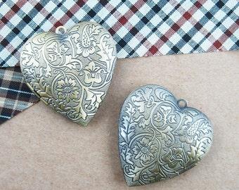 5pcs Pendant DIY Brass Bronze Heart Shape Flower Photo Locket,heart locket,vintage locket 1131010