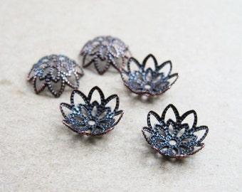 100x 9mm vintage copper red flower cap,copper beads cap,vintage beads cap,brass beads cap1567001