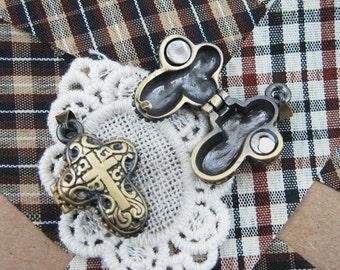 wholesale 5pcs vintage brass bronze locket pendant,vintage prayer box 1161010