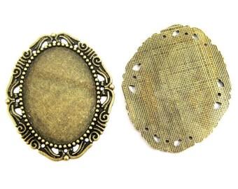 4pcs 30x40mm setting size vintage bronze antique oval pendant bezels settings tray 1421029