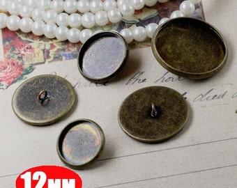 10pcs 12MM bronze brass button,button base setting,button base tray,button tray,DIY button 1581007-1